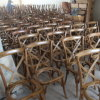 Hot Sale Banquet Wooden Cross X Back Rattan Seat Chairs