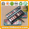 Custom Rectangular Metal Cosmetic Tin with Mirror for Eye Shadow