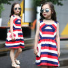 Girls Wide Striped Tide Fan Sleeveless Dress