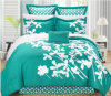 7-Piece Four Shams Printed Comforter Bedding Set Decorative Pillow, Queen Size