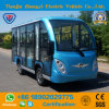 2017 New Model 11 Passengers Enclosed Blue Color Electric Sightseeing Shuttle Car with Low Price