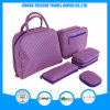 Violet Color Microfiber Stripe Printed Tote Bag Set Cosmetic Bag