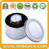 Plain Silver Printing Round Metal Watch Tin with PVC Window