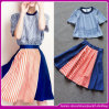Wholesale Elegant Round Collar and Short Sleeve Pink and Blue Patchwork Effect Stripe 2 Pieces Summer Prom Dress 2014