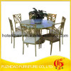 Manufacturer Stainless Steel with Temper Glass Top Dining Table
