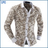 Long Sleeve Turtleneck Classic Flower Shirt for Men