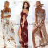 2017 Fashion Women off Shoulder Beach Maxi Chiffon Dress with Floral Print
