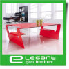 Curved Glass Center Table with Red Painting