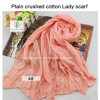 2017 Hot Sale Soft Cotton Plain Crushed Fashion Lady Scarf