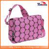 fashion Pink Spotted Allover Silk Creen Shoulder Bag with a Adjustable Shoulder Strap