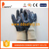 Ddsafety 2017 Cotton Blue Nitrile Glove Knitted Wrist Safety Gloves