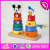 2015 Wooden Toy Stacking Clown for Kids, Multicolored Education Children Stacking Toy, Baby Intelligent Building Block Toy W13D080