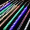 Multicolor Meteor Shower Rain LED Lights 8 Tube Snowfall String Fairy Lighting for Christmas Tree Valentine Holiday Party Outdoor Garden