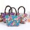 Fashion Flower Printing Canvas Lunch Bag Women Portable High Capacity Handbag Lunch Shoulder Messenger Crossbody Tote Bag