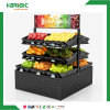 Double Sided Hypermarket Wood Fruit Display Shelf