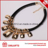 Fashion Golden Alloy Party Choker Necklace with Big Crystal Pendent