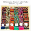 100% Viscose Hot Sale Fashion Ladies Geometry Cube Printed Scarf