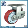 """6""""Iron Core PU Single Springs Fixed Shockproof Caster Wheel"""