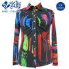 Colorful Button Abstract Pattern Turn-Down Collar Fashion Ladies Blouse