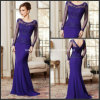 Boat Prom Party Dresses Sheer Long Sleeves Mother Evening Dress Y36
