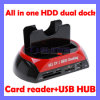 "All in One 2.5"" 3.5"" IDE/SATA HDD Dual Dock Docking Station USB Hub Card Reader"