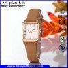 Fashion Casual Leather Strap Quartz Ladies Wrist Watch (Wy-056C)
