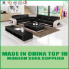 Wooden Furniture Leather Sectional Sofa with Chaise