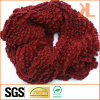100% Acrylic Fashion Burgundy Creased Knitted Lady Neck Scarf