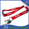 Red Mobile Phone String Safety Buckle Silk Screen Lanyard with White Logo
