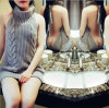 Ladies Sexy Knitwear Vest Turtleneck Tanktop