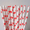 Red Color Heart Paper Straw for Wedding Party