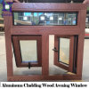Solid Wooden Window with Aluminum Cladding Awning Design, 3D Wood Grain Aluminum Top Hung Windows