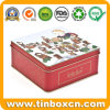 Square Gift Metal Tin Box with Hinge, Food Tinplate Box