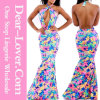 Blooming Floral Print Mermaid Fashion Flower Girl Dress