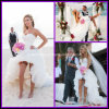 Hi-Lo Beach Bridal Gown Organza White Summer Wedding Dress Zy10001