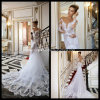 See Through Wedding Gowns Backless Lace Long Bridal Dresses Z1035
