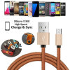Authentic PU Leather Micro USB Cable for iPhone