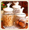 Hot Sell Glass Food Storage Jar/Glass Candy Jar with Ceramic Lid for Kitchenware