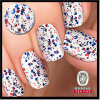 a Glitzy Mix of Red and Blue Glitters on White Nail Sticker for Nail Art