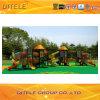 114mm Galvanized Post Colourful Triple Slide Luxurious Children Outdoor Playground Equipment