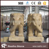 Own Quarry Stone Imperial Gold Marble Elephant Carving Sculpture