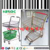 Metal Frame Double Basket Shopping Trolley for Grocery Store