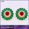 Golden Emerald Zirconia Earrings Stud Back Earring