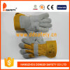 Ddsafety 2017 Cow Split Leather Glove Patch Palm Yellow Cotton Drill Back
