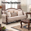 Classical Fabric Sofa Set American Antique Sofa with Wood Frame