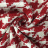 Red Houndstooth Check Wool Fabric in Ready