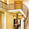 Hotel Gold Color Curved Stair Railing Aluminum Balustrade