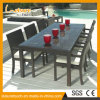 Outdoor Paito Restaurant Furniture Large Dining Tables Wicker Rattan Chair Table Set