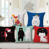 Cotton Linen Printed Cushion Cover Without Filler for Sofa (35C0169)