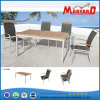 Aluminum Sling +Teak Garden Dining Set with Stackable Chair